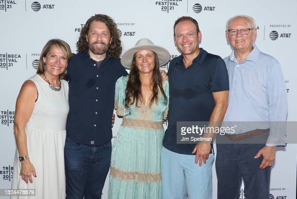 """Terri Gassert, co-director/producer Michael Gassert, Emily Gassert, a guest and Joe Gassert attend the """"The Last Out"""" premiere during the 2021..."""