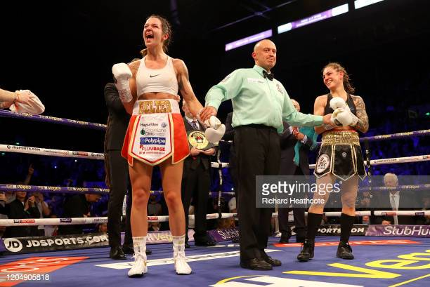 Terri Harper celebrates victory over Eva Wahlstrom after the WBC and IBO SuperFeatherweight World Title Fight between Eva Wahlstrom and Terri Harper...