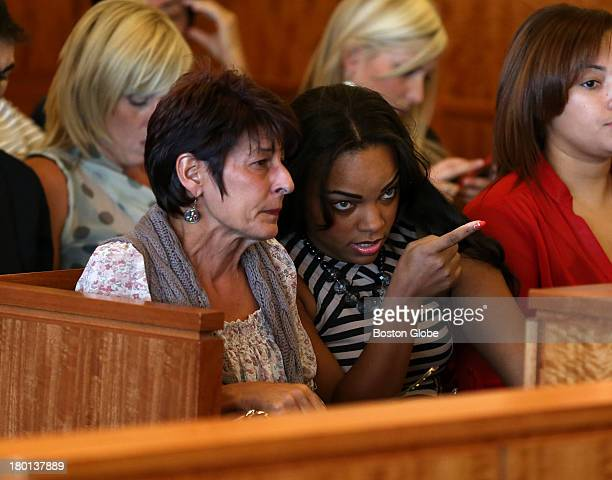 Terri Hernandez left mother of Aaron Hernandez with her son's fiancee Shayanna Jenkins right at his arraignment in Fall River Superior Court Aaron...
