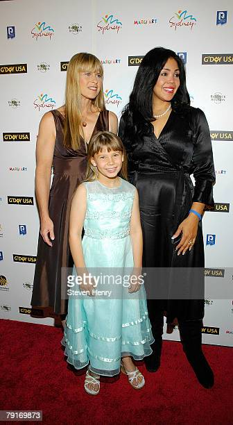 Terri Irwin and Bindi Irwin speak with Khaliah Ali at the opening night celebration for G'DAY USA Australia Week at Jazz Lincoln Center on January 22...