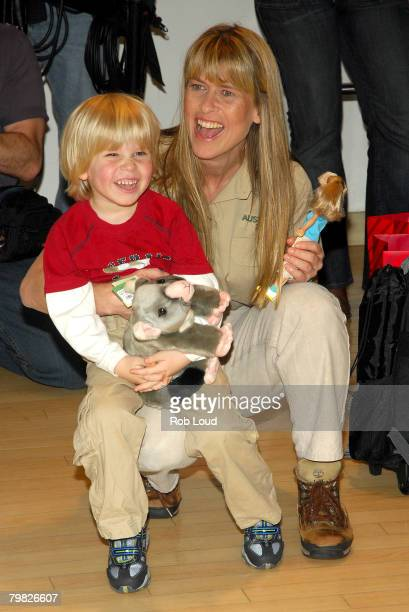 Terri Irwin and Robert Irwin attend the unveiling of Bindi Irwin's new toy line at FAO Schwarz on Febraury 18 2008 in New York City