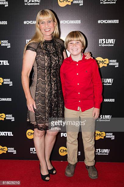 Terri Irwin and Robert Irwin walk the red carpet at Country Music Channel Awards 2016 at the Queensland Performing Arts Centre on March 10 2016 in...