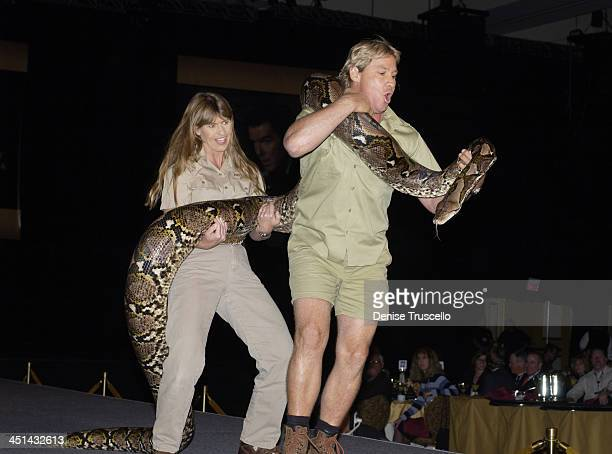 Terri Irwin and Steve Irwin, The Crocodile Hunter during 2002 ShoWest Opening Day Luncheon at Paris Hotel in Las Vegas, Nevada, United States.