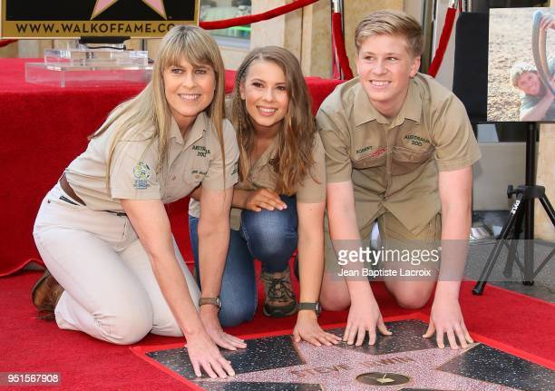 Terri Irwin Bindi Irwin and Robert Irwin attend a ceremony honoring Steve Irwin with a star on The Hollywood Walk of Fame on April 26 2018 in Los...