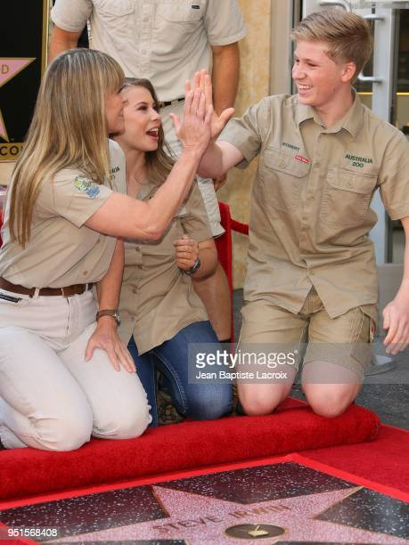 Terri Irwin, Bindi Irwin and Robert Irwin attend a ceremony honoring Steve Irwin with a star on The Hollywood Walk of Fame on April 26, 2018 in Los...