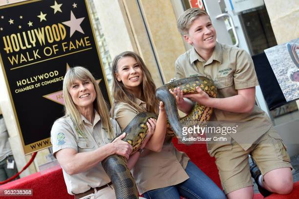 Terri Irwin, Bindi Irwin and Robert Irwin attend the ceremony honoring Steve Irwin with star on the Hollywood Walk of Fame on April 26, 2018 in...