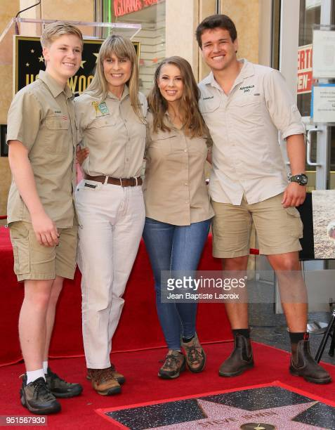 Terri Irwin, Bindi Irwin, Chandler Powell and Robert Irwin attend a ceremony honoring Steve Irwin with a star on The Hollywood Walk of Fame on April...