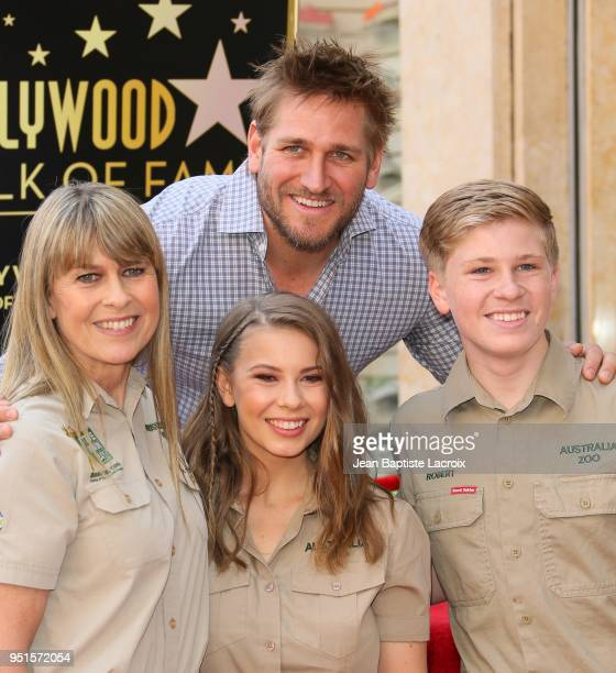 Terri Irwin, Bindi Irwin, Robert Irwin and Curtis Stone attend a ceremony honoring Steve Irwin with star on The Hollywood Walk of Fame on April 26,...