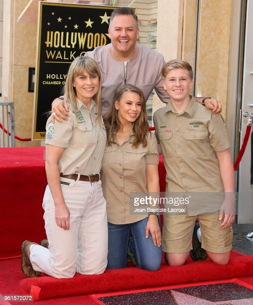 Terri Irwin, Bindi Irwin, Robert Irwin and Ross Matthew attend a ceremony honoring Steve Irwin with star on The Hollywood Walk of Fame on April 26,...
