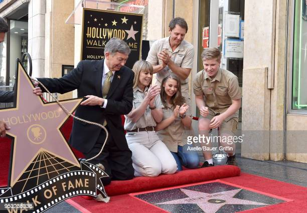Terri Irwin, Bindi Irwin, Robert Irwin and Wes Mannion attend the ceremony honoring Steve Irwin with star on the Hollywood Walk of Fame on April 26,...