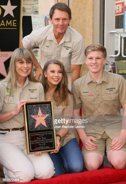 Terri Irwin, Bindi Irwin, Wess Mannion and Chandler Powell attend a ceremony honoring Steve Irwin with star on The Hollywood Walk of Fame on April...
