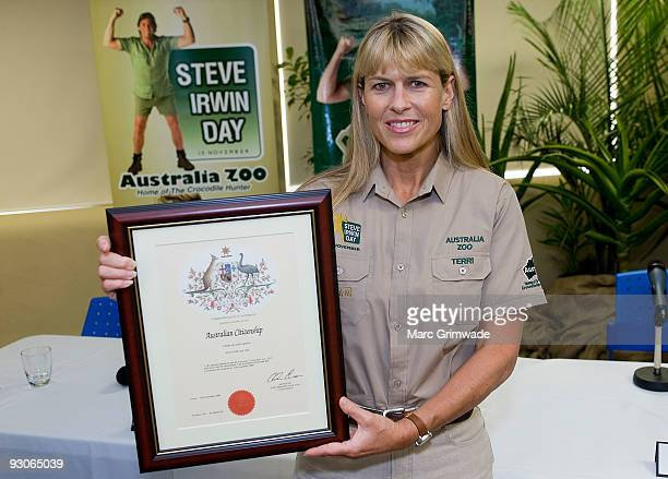 Terri Irwin poses with her citizenship certificate during Steve Irwin Day celebrations at Australia Zoo on November 15 2009 in Sunshine Coast...