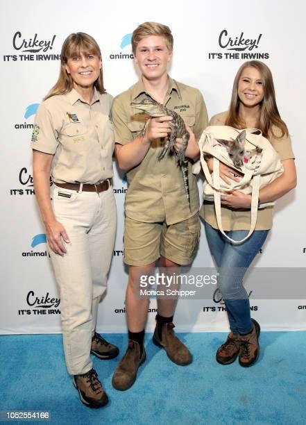 "Terri Irwin, Robert Irwin and Bindi Irwin attend as Animal Planet celebrates ""Crikey! It's the Irwins"" on October 19, 2018 in New York City."