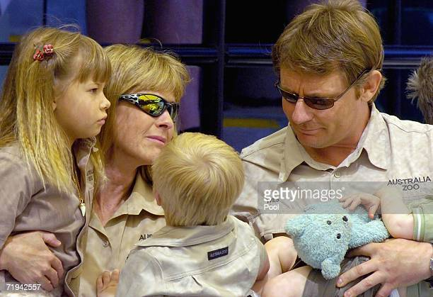 Terri Irwin wife of Australian environmentalist and television personality Steve Irwin, sits with daughter Bindi, son Bob and friend Wes Mannion at...