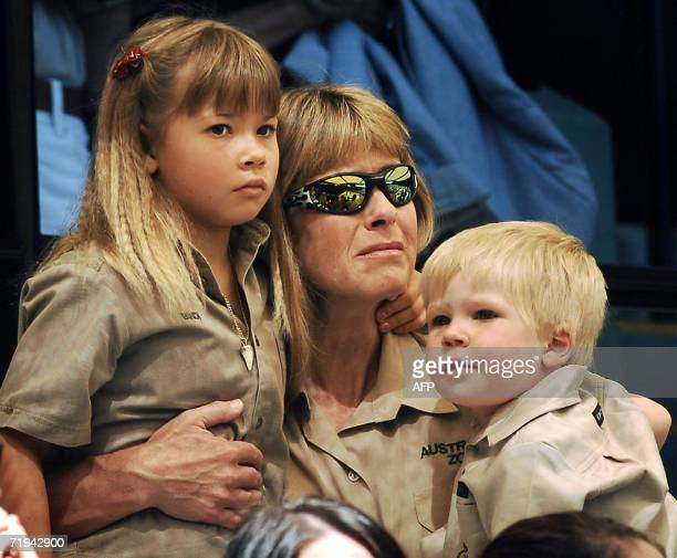 Terri Irwin , wife of Australian environmentalist and television personality Steve Irwin with her daughter Bindi and son Bob , attend a memorial...