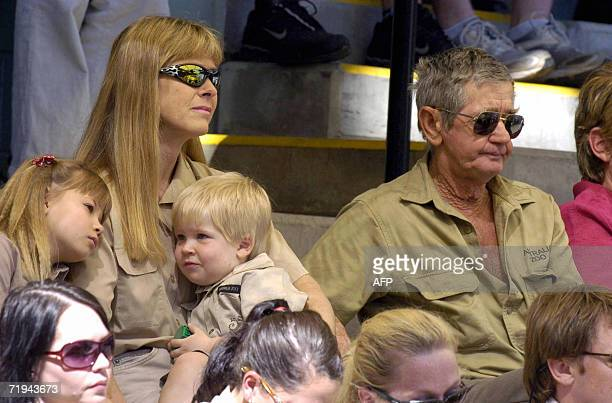 Terri Irwin , wife of Australian environmentalist and television personality Steve Irwin, sits with daughter Bindi , son Bob and Steve's father Bob...