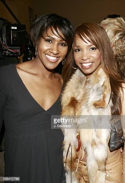 Terri J Vaughn and Elise Neal during Olympus Fashion Week Fall 2005 Baby Phat Front Row and Backstage at Skylight Studios in New York City New York...