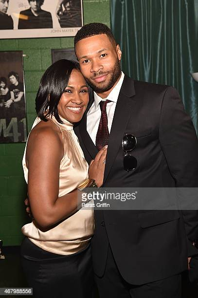 Terri J Vaughn and Karon Riley backstage at John Lewis 75th Birthday Celebration at The Tabernacle on March 28 2015 in Atlanta Georgia