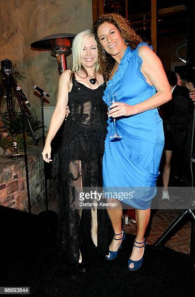 Terri Nunn and Francisca Moroder attend Giorgio Moroder's Surprise Birthday Party at Spago on April 26 2010 in Beverly Hills California