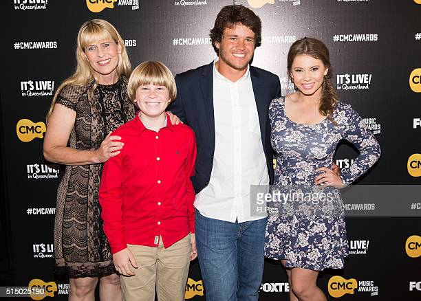 Terri Robert and Bindi Irwin and Chandler Powell walk the red carpet at Country Music Channel Awards 2016 at the Queensland Performing Arts Centre on...