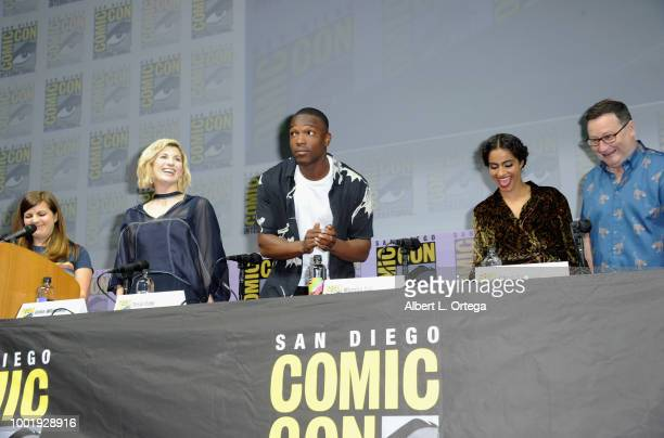 Terri Schwartz Jodie Whittaker Tosin Cole Mandip Gill and Chris Chibnall speak onstage during the Doctor Who BBC America's Official panel during...