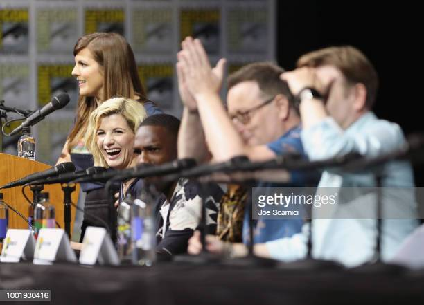 Terri Schwartz Jodie Whittaker Tosin Cole Mandip Gill Chris Chibnall and Matt Strevens speak onstage during the Doctor Who BBC America's Official...