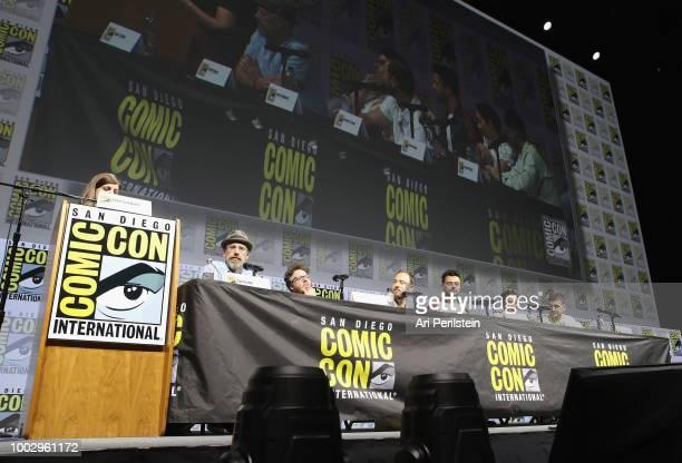 Terri Schwartz Sam Catlin Seth Rogen Evan Goldberg Dominic Cooper Ruth Negga and Joseph Gilgun attend the 'Preacher' autograph signing and panel with...