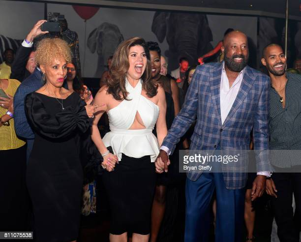 Terri Woodson actress Tanya Thicke and Los Angeles Clippers Assistant Coach Mike Woodson attend the Coach Woodson Las Vegas Invitational red carpet...