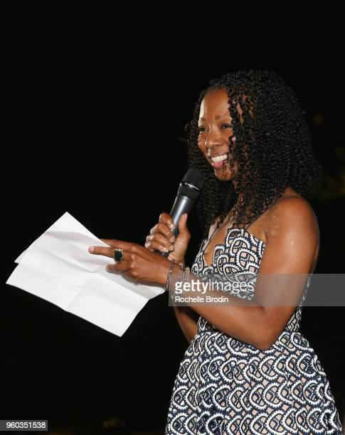 Terri Yates speaks onstage at The Foundation for Living Beauty Dinner Under the Stars on May 19 2018 in Beverly Hills California