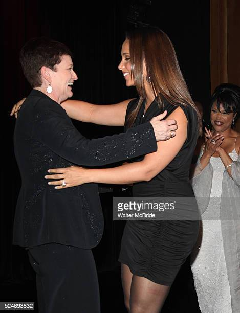 Terria Joseph daughter Alicia Keys with Lynn Whitfield attending the Woodie King Jr's NFT New Federal Theatre 40th Reunion Gala Benefit Awards...