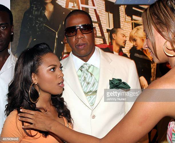 Terria Marie JayZ and Tracey Waffles during Vibe Magazine Presents RocAWear 2005 Hosted By Jay Z at The Lowe Gallery in Los Angeles California United...