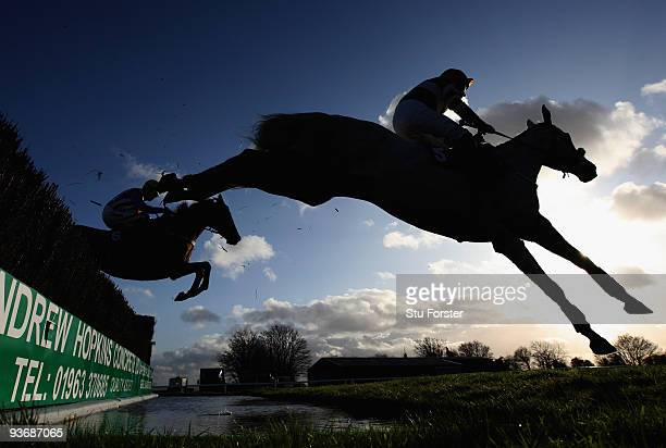Terrible Tenant ridden by Jimmy Derham clears the water jump during the Weatherby's bank silver buck handicap chase at Wincanton Racecourse on...