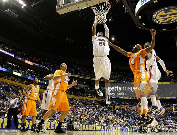 Terrico White of the Mississippi Rebels attempts a dunk against the Tennessee Volunteers during the quarterfinals of the SEC Men's Basketball...