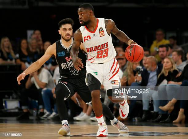 Terrico White of the Wildcats controls the ball during the round three NBL match between Melbourne United and the Perth Wildcats at Melbourne Arena...