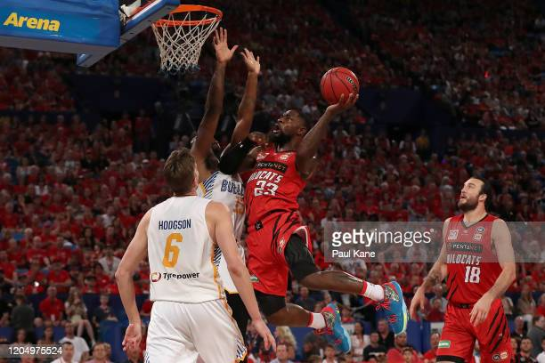 Terrico White of the Wildcats goes to the basket during the round 19 NBL match between the Perth Wildcats and the Brisbane Bullets at RAC Arena on...