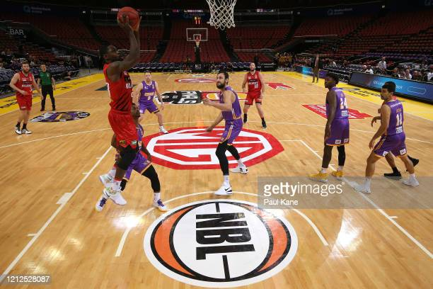 Terrico White of the Wildcats lays up during game three of the NBL Grand Final series between the Sydney Kings and Perth Wildcats at Qudos Bank Arena...