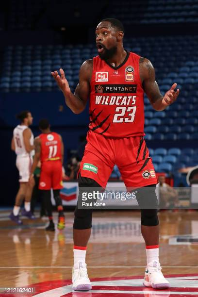 Terrico White of the Wildcats reacts after being called for a foul on Kevin Lisch of the Kings during game two of the NBL Grand Final series between...
