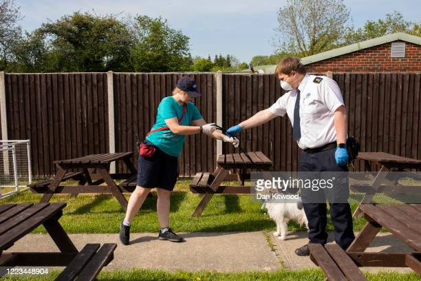 Terrier named named Jeff whose owner had died the previous day arrives at South Godstone RSPCA centre on May 07 2020 in London England The frontline...