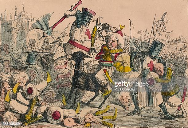 Terrific combat between Richard Coeur de Lion and Saladin 1850 A satirical illustration of Richard the Lionheart and Saladin in battle Richard the...