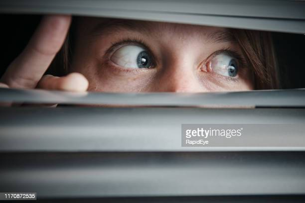 terrified wide-eyed teenage girl looking through closed blinds - terrified stock pictures, royalty-free photos & images