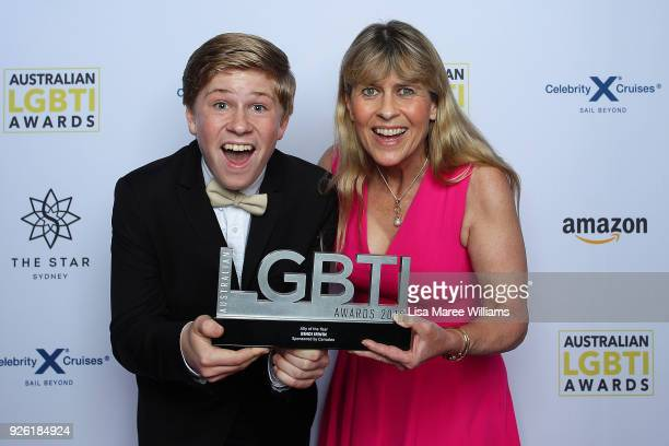 TerriÊIrwin and Robert Irwin pose with the Ally Award accepted on behalf of Bindi Irwin in the media room during the Australian LGBTI Awards at The...