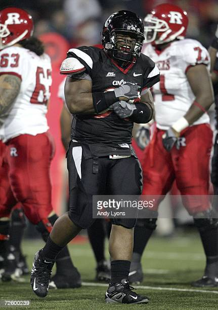 Terrill Byrd of the Cincinnati Bearcats celebrates a tackle against the Rutgers Scarlet Knights during the game on November 18, 2006 at Nippert...