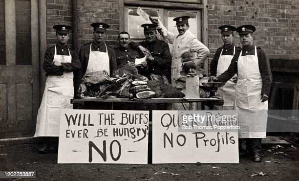 Territorial Battalion butchers and cooks from the East Kent Regiment during World War One circa 1916