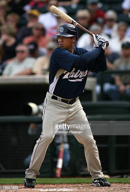 Terrmel Sledge of the San Diego Padres bats against the Kansas City Royals during the MLB spring training game at Surprise Stadium on March 5 2007 in...