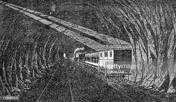 Terroine tunnel on the railway between SaintEtienne and Lyon ca 1833 interior Original in 'Veritable Messager boiteux' by Berne and Vevey 1834