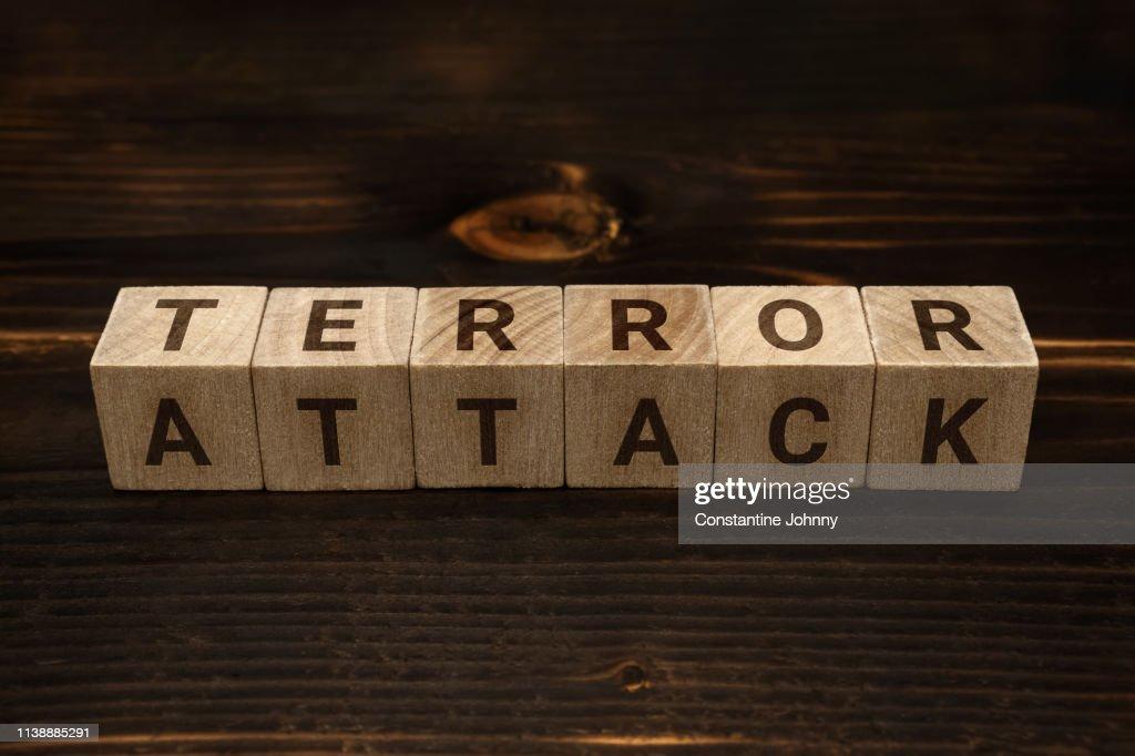 Terror Attack Words on Wooden Blocks : Stock Photo