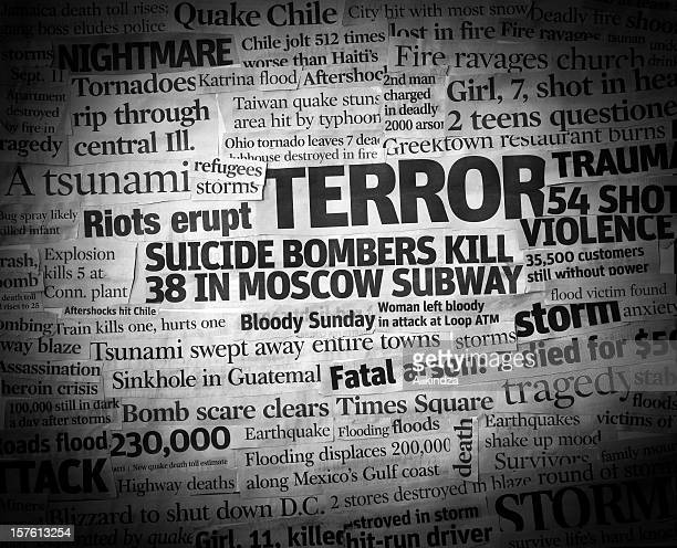 terror headline collage - terrorism stock pictures, royalty-free photos & images