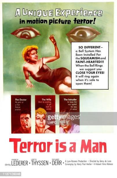 Terror Is A Man poster US poster art Center Greta Thyssen bottom left Francis Lederer Greta Thyssen Richard Derr 1959