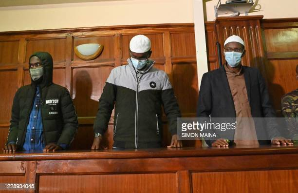 Terror suspects Hassan Hussein Mustafa, Liban Abdullahi Omar, and Mohamed Ahmed Abdi who are charged with aiding the gunmen involved in the Westgate...