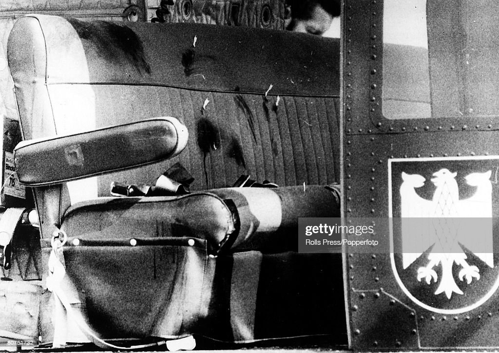 Terrorism, 1972 Olympic Games in Munich, Fuerstenfeldbruck, Germany, pic: September 1972, The bloodstained seats of a West German Border Police helicopter shows the bullet holes, from a shoot out between German forces and Arab extremists.